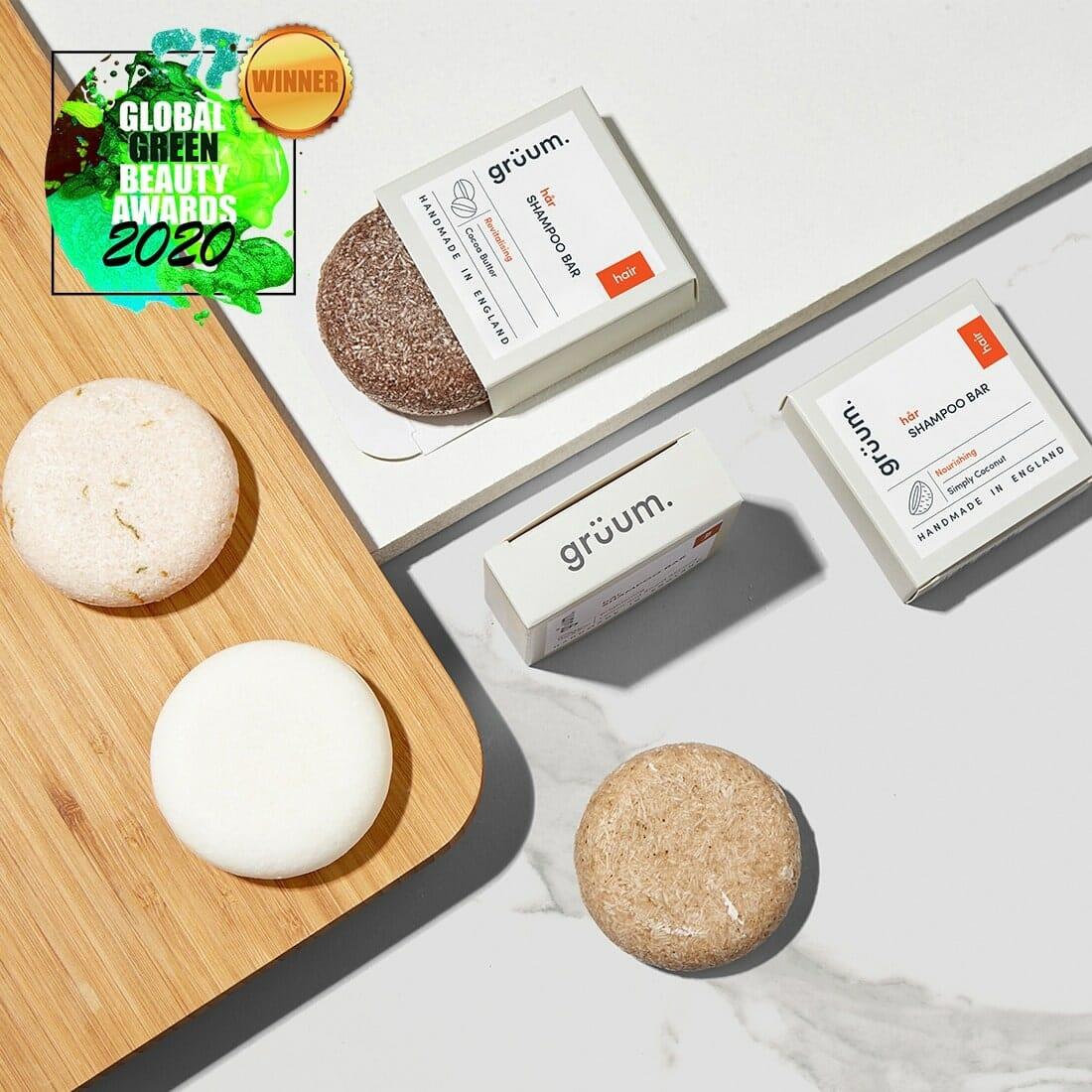 Gruum product image of 4x shampoo bars Global Green Beauty Awards 2020