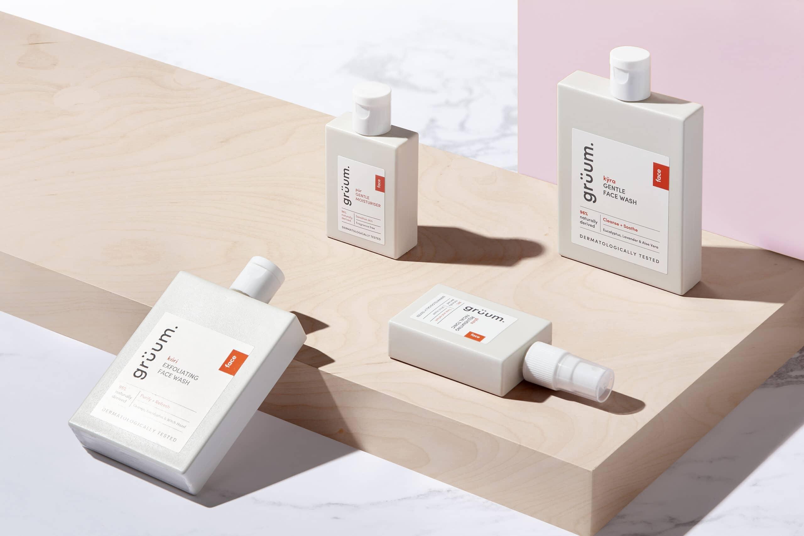 Gruum skincare squad gift set product image with kyra face wash, kori exfoliator face wash, pur gentle moisturiser and gosta facial tonic