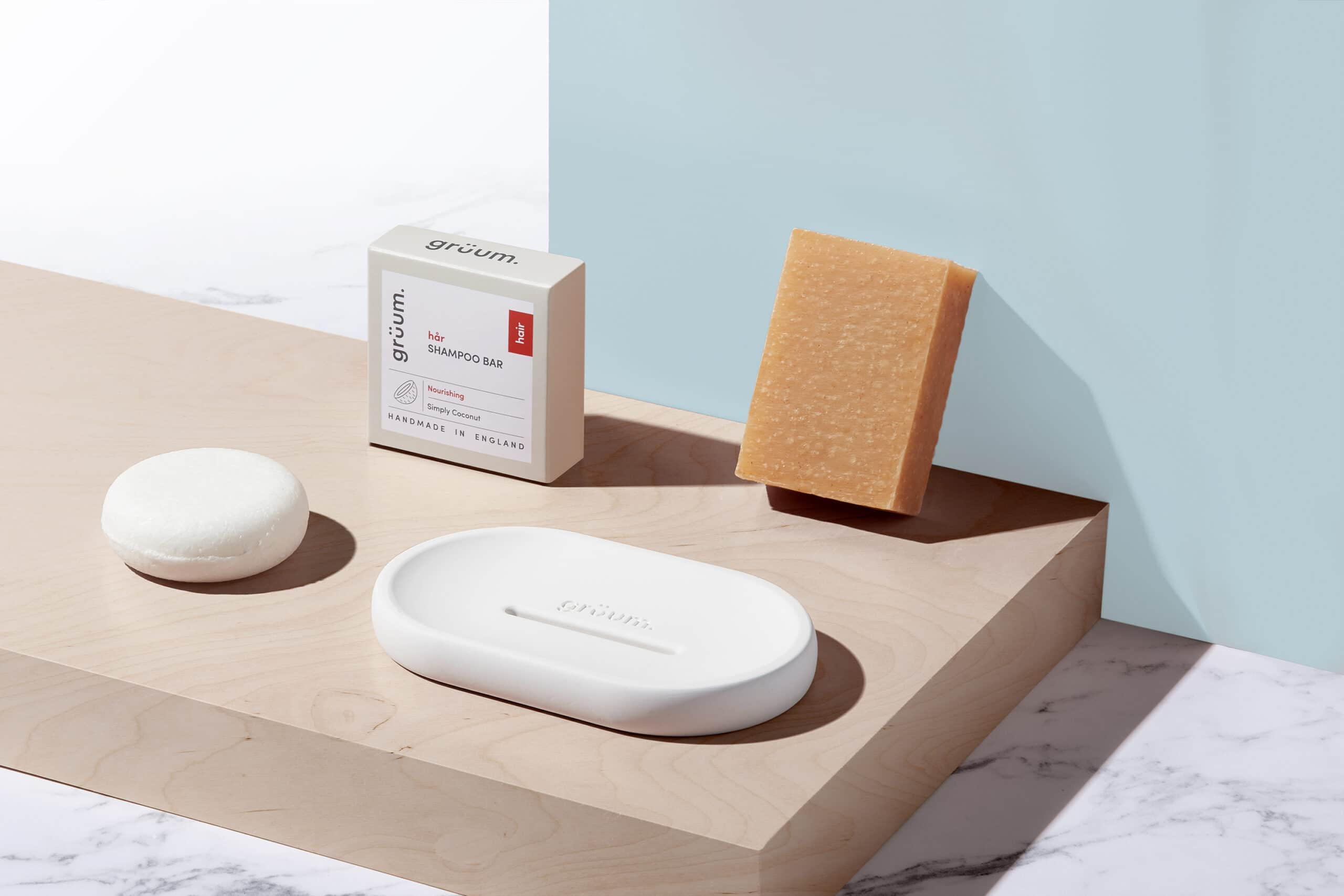 Gruum shampoo & body gift set product image with shampoo bar, body bar and halla soap dish