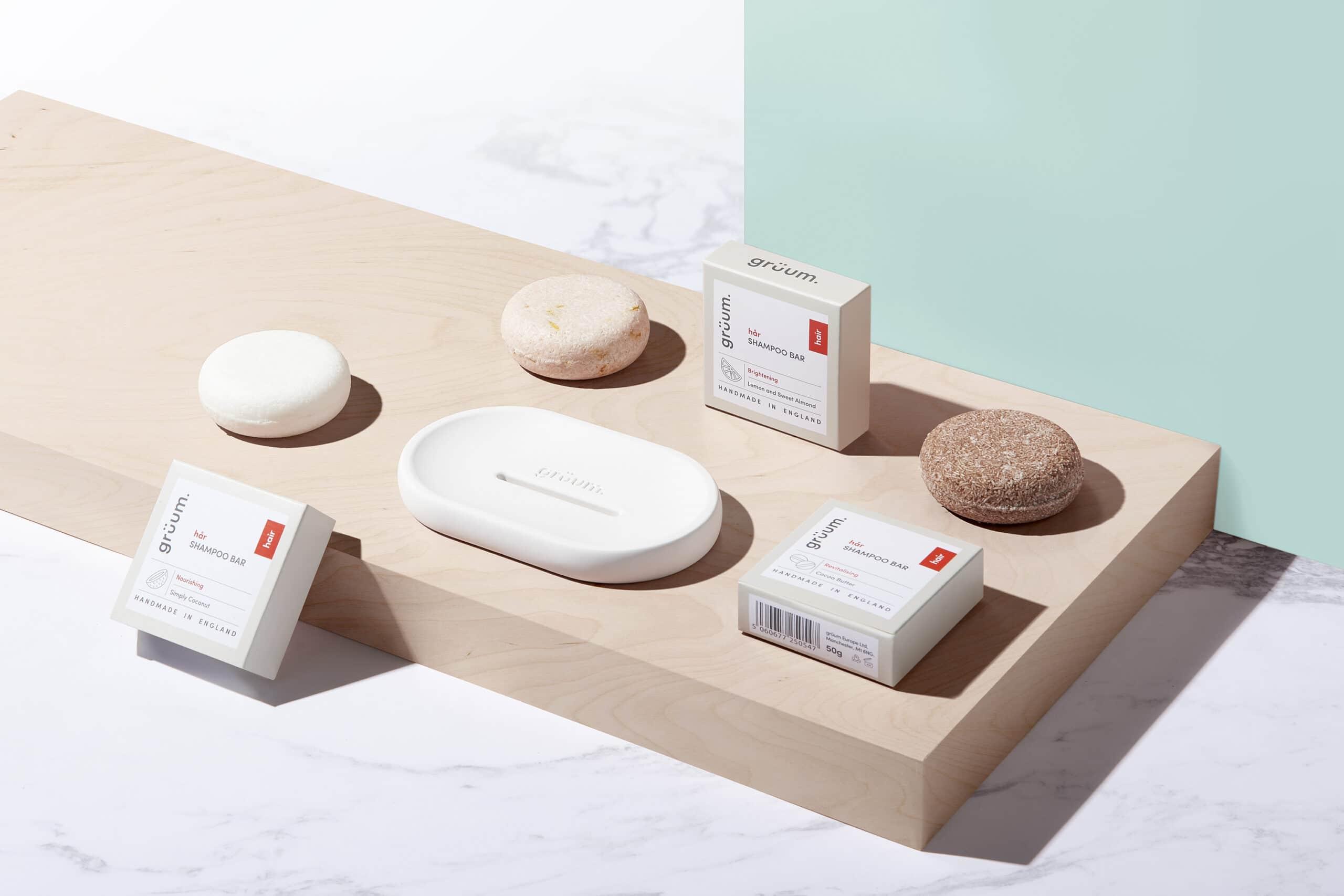 Gruum Shampoo Bar Trio product image with the nourishing, revitalising and brightening shampoo bars and white halla soap dish with Zero plastic