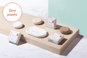Gruum Shampoo Bar Trio product image with the nourishing, revitalising and brightening shampoo bars and white halla soap dish with Zero plastic
