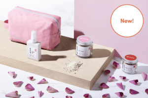 Gruum product image with New washbag, somn sleep mist, pink clay face mask and Lavender & chamomile salt soak