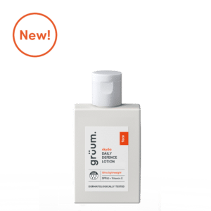 New Grey bottle of skyda daily defence lotion